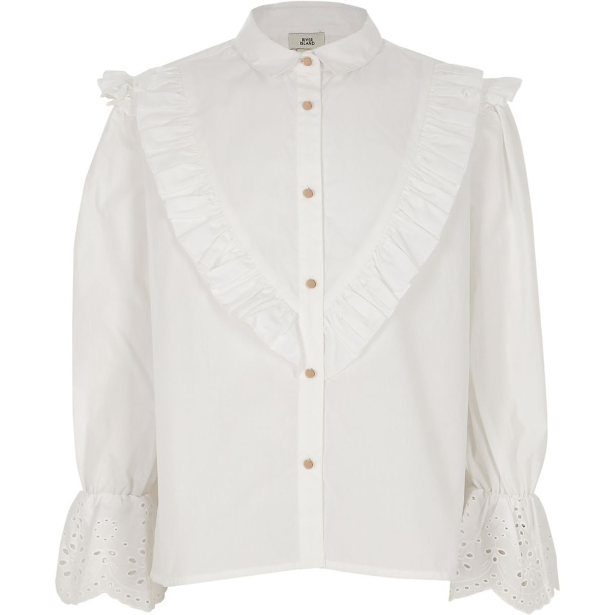 Girls white poplin embroidered sleeve shirt