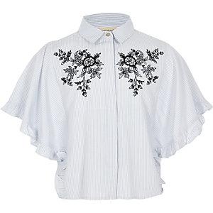 Chemise bleues à rayures fleuries avec manches à volants fille