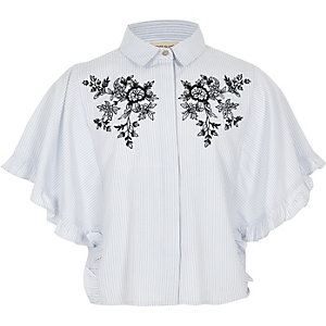 Blauw overhemd met bloemenprint, strepen en ruches aan de mouwen voor meisjes