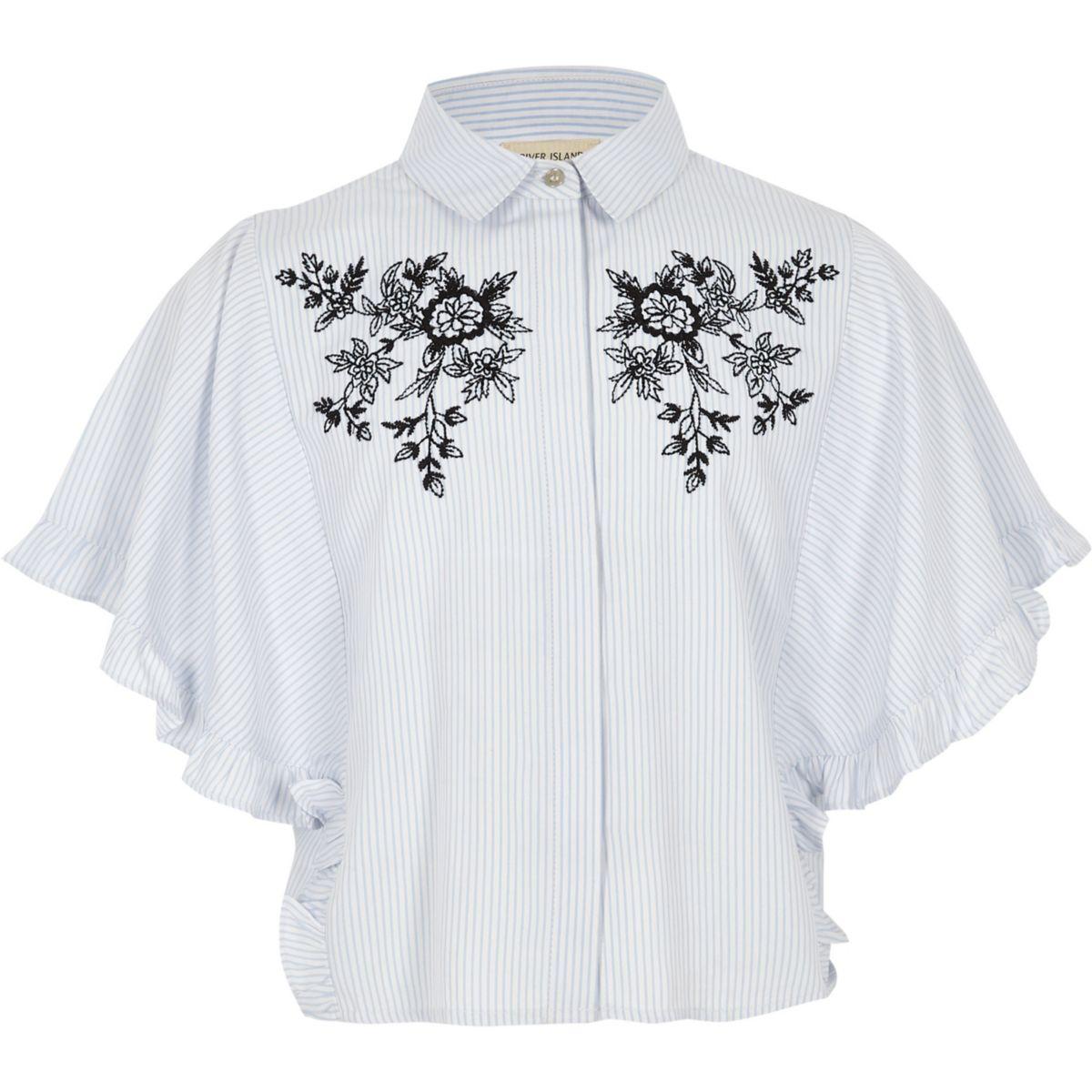 Girls blue floral stripe frill sleeve shirt