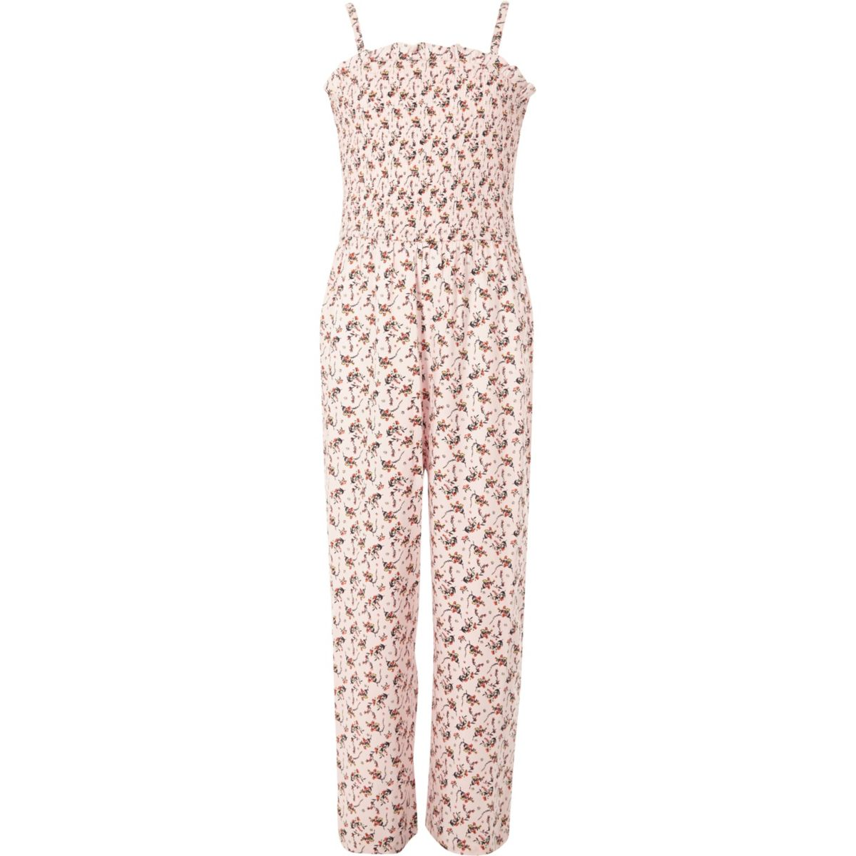Girls pink print shirred jumpsuit