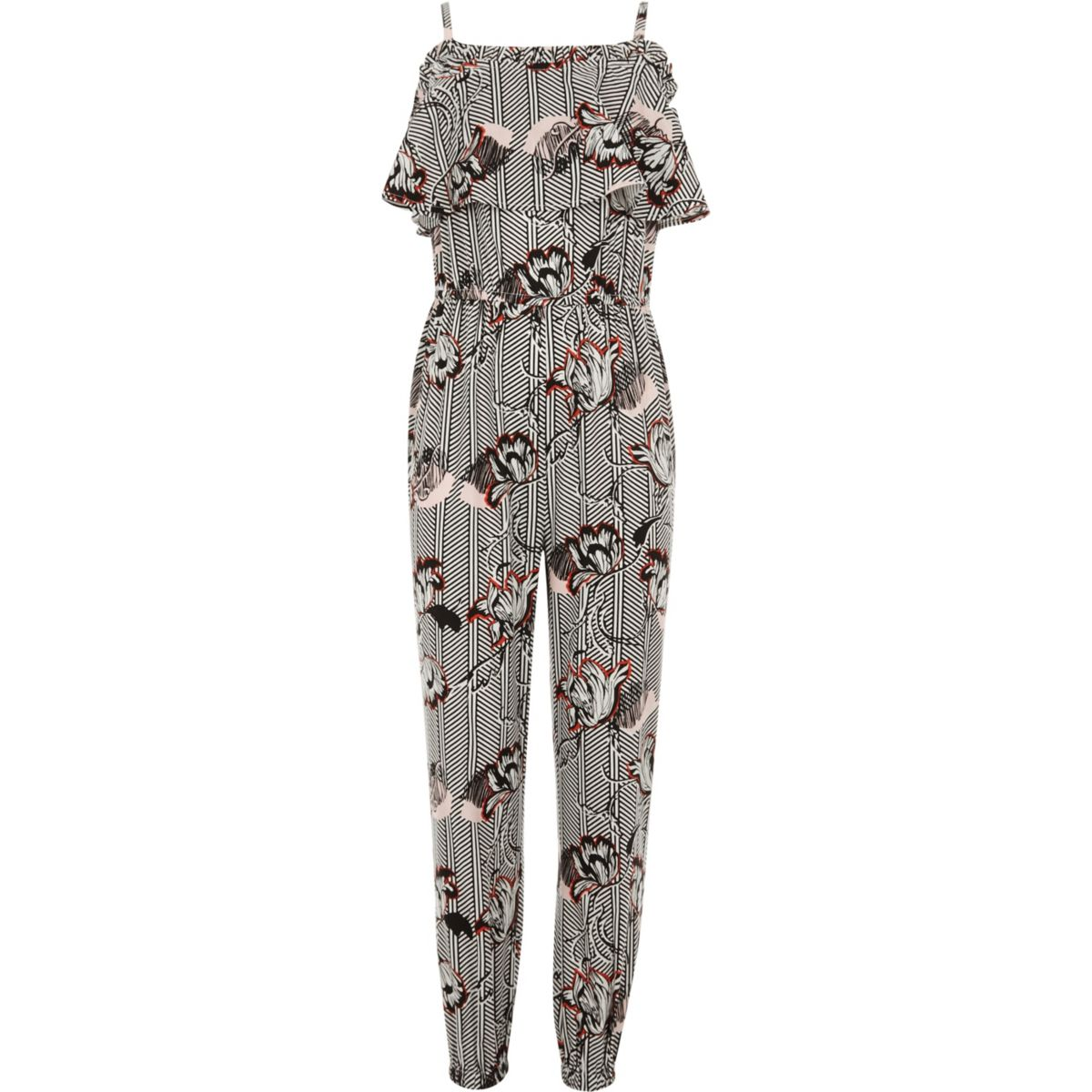 Girls white floral print ruffle jumpsuit
