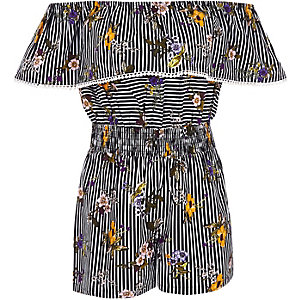 Girls stripe and floral bardot romper
