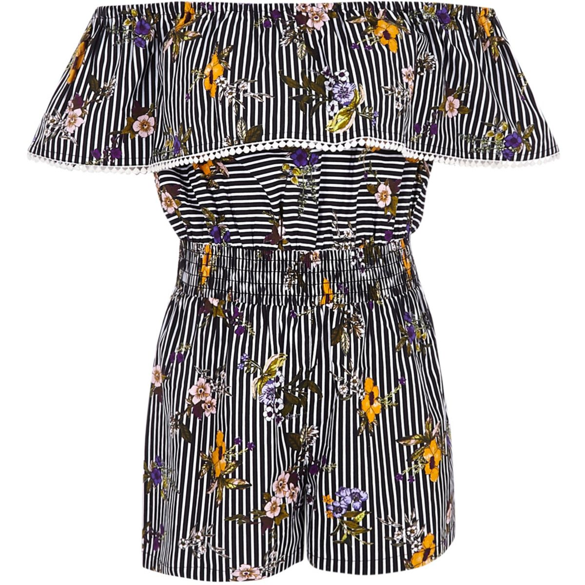 Girls stripe and floral bardot playsuit