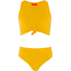 Girls yellow knot front bikini