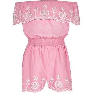 Girls pink embroidered bardot romper