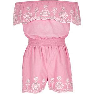 Roze geborduurde bardotplaysuit voor meisjes