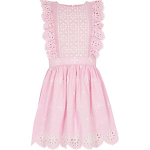 Girls pink broderie stripe skater dress