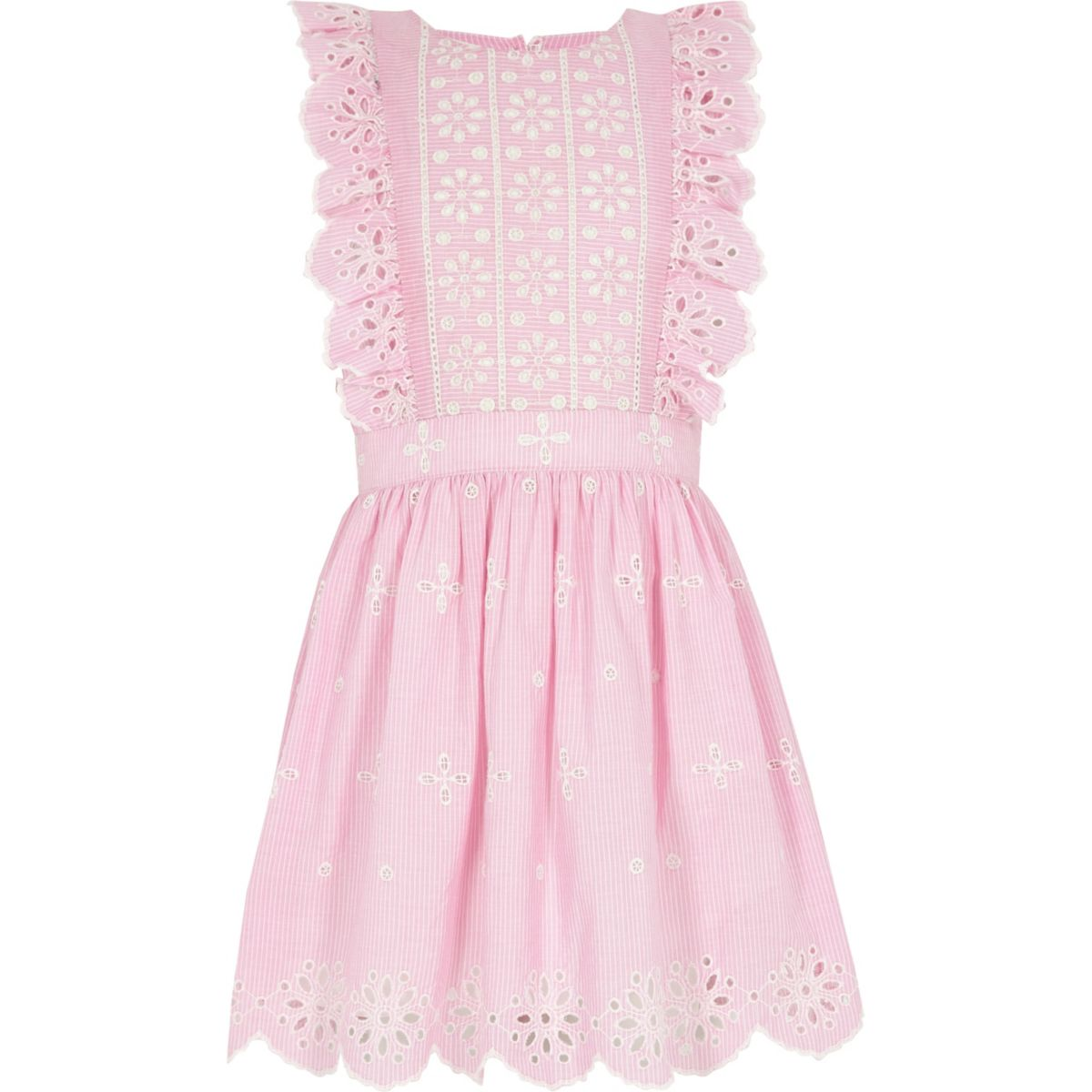 Girls pink broderie stripe skater dress