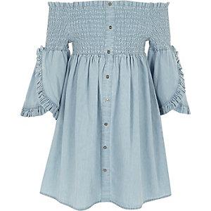 Girls blue shirred bardot denim dress