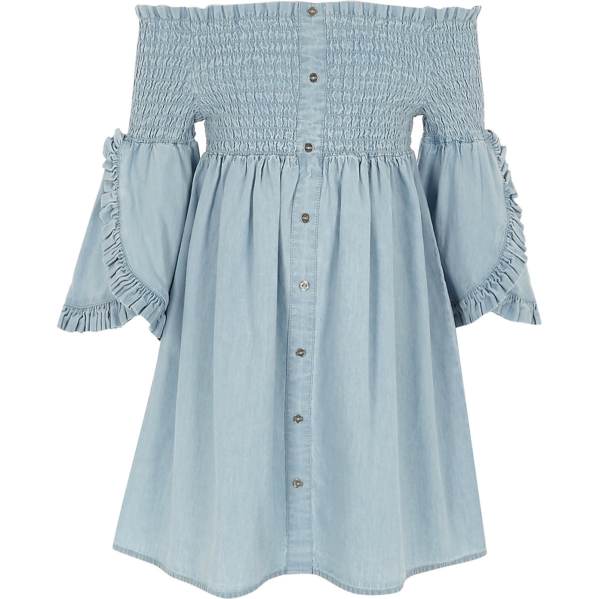Girls blue shirred bardot denim dress