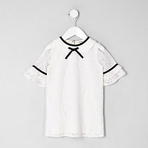 Mini girls cream lace shift dress