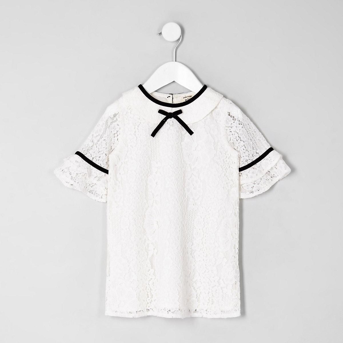 Mini girls cream lace shift dress