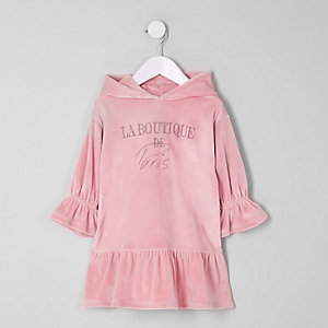 Mini girls pink 'boutique' sweatshirt dress