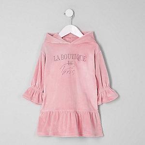 Mini - Roze sweatshirt-jurk met 'boutique'-print voor meisjes