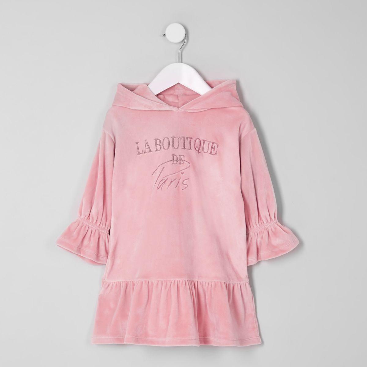 Mini girls pink 'boutique' sweatshirt dress