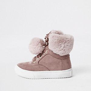 Mini - Roze suède hoge sneakers met pompon van imitatiebont