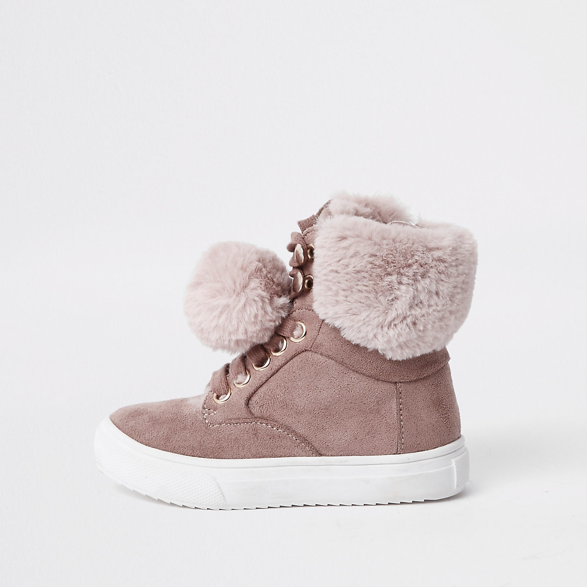 Mini girls pink suede faux fur pom high tops