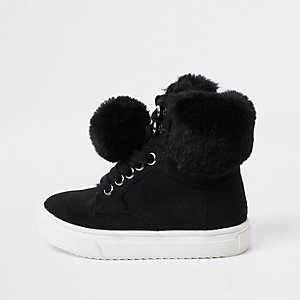 Mini girls black faux fur high top sneakers