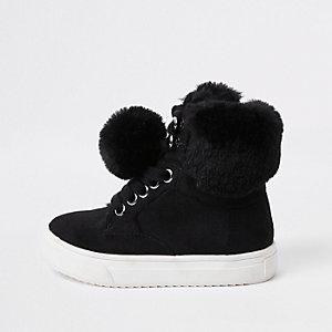 Mini - Zwarte hoge sneakers met imitatiebont voor meisjes