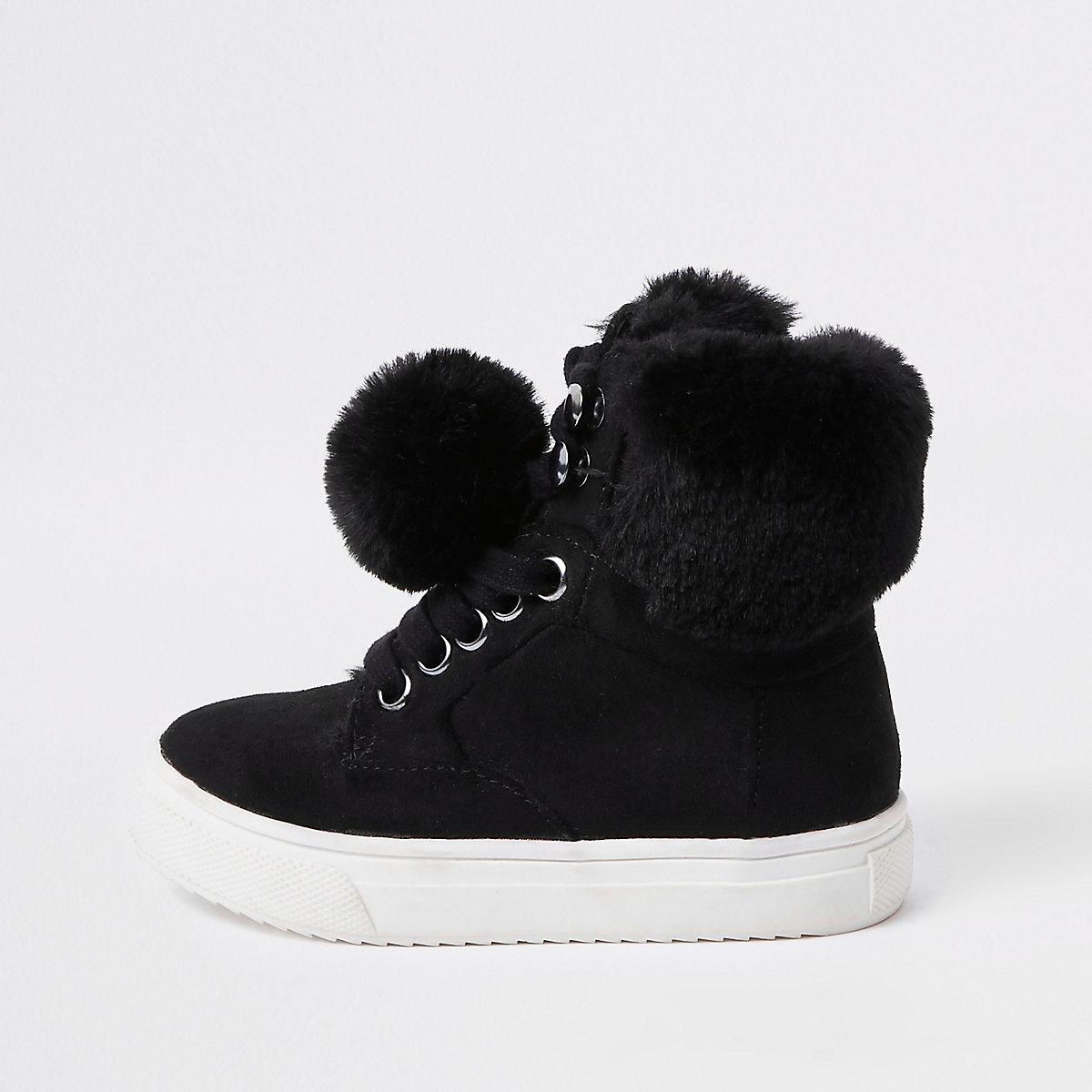 Mini girls black faux fur high top sneakers