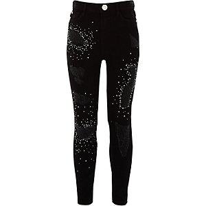 Girls black Amelie ripped embellished jeans