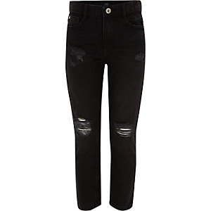 Girls black Molly ripped straight leg jeans
