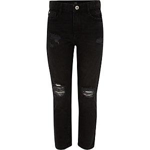 Bella – Schwarze Straight Leg Jeans im Used Look