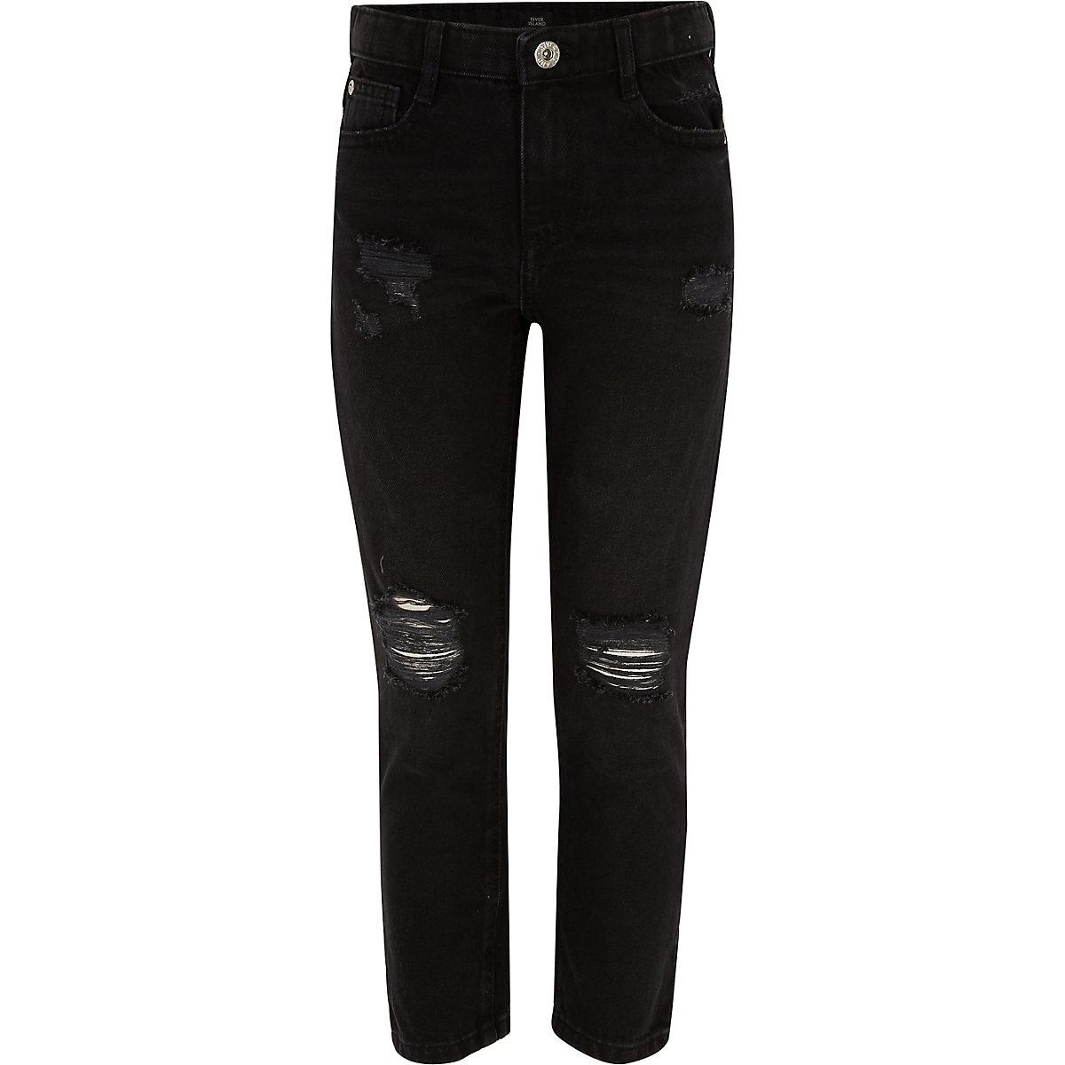 Girls black Bella ripped straight leg jeans