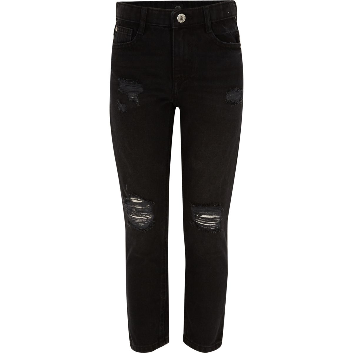 Girls black Molly ripped straight leg jeans