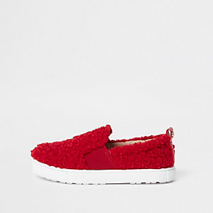 Girls red faux fur slip on plimsolls