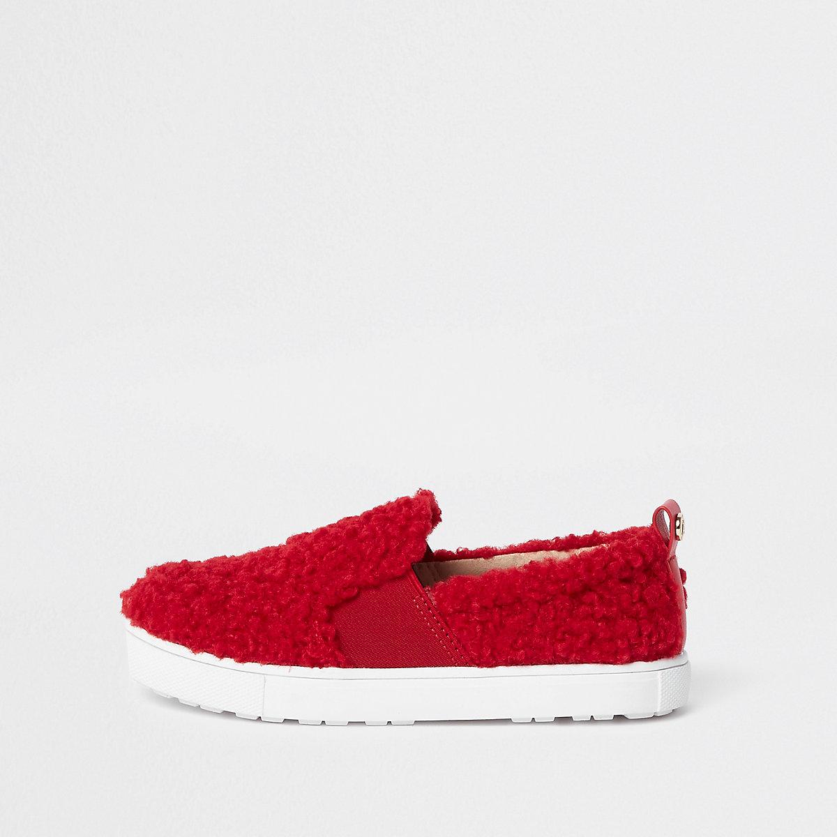 Girls red faux fur slip on plimsolls