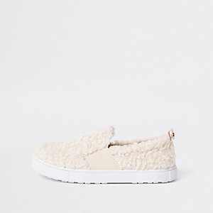 Girls cream faux fur slip on plimsolls