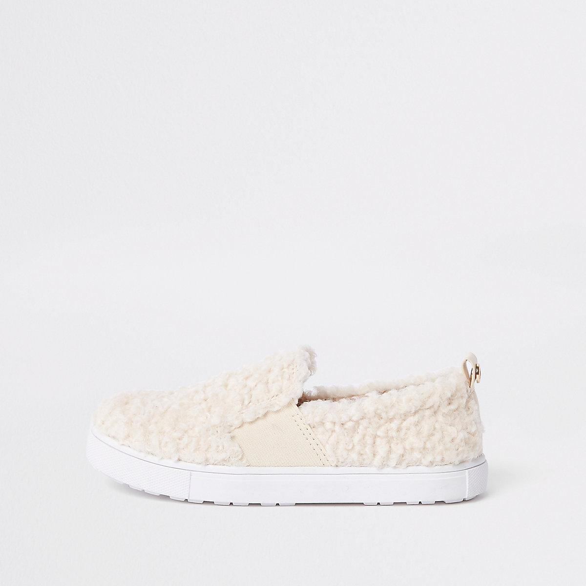 Girls cream faux fur slip on plimsolls