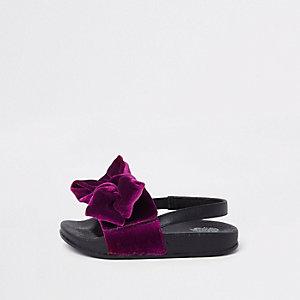 Mini - Paarse slippers met slingback en strik voor meisjes