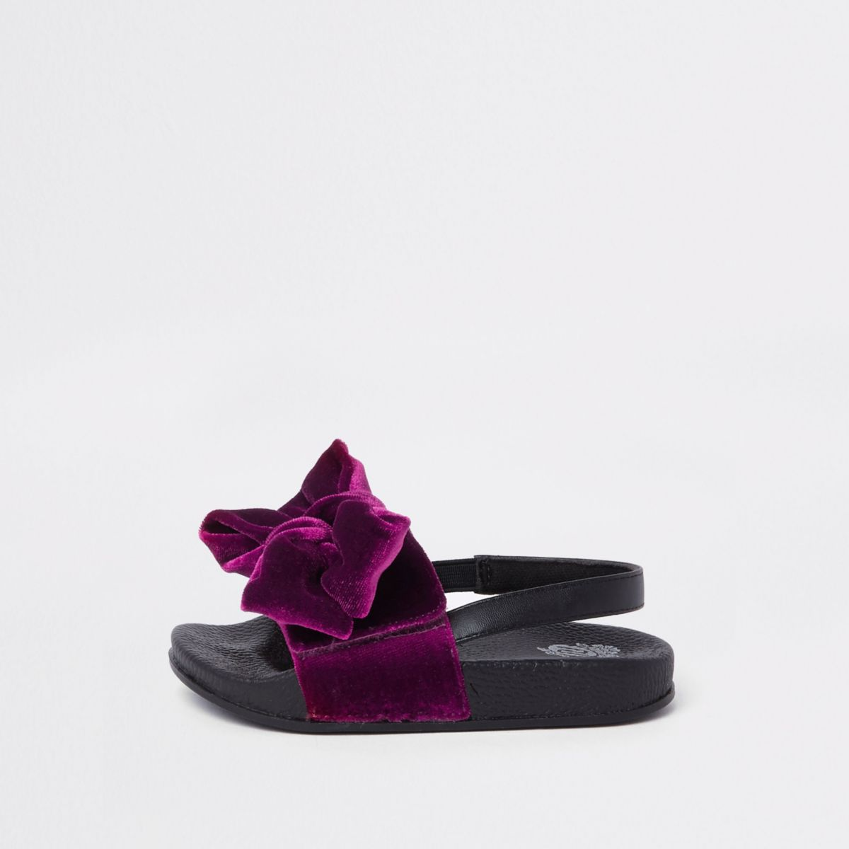 Mini girls purple bow slingback sliders