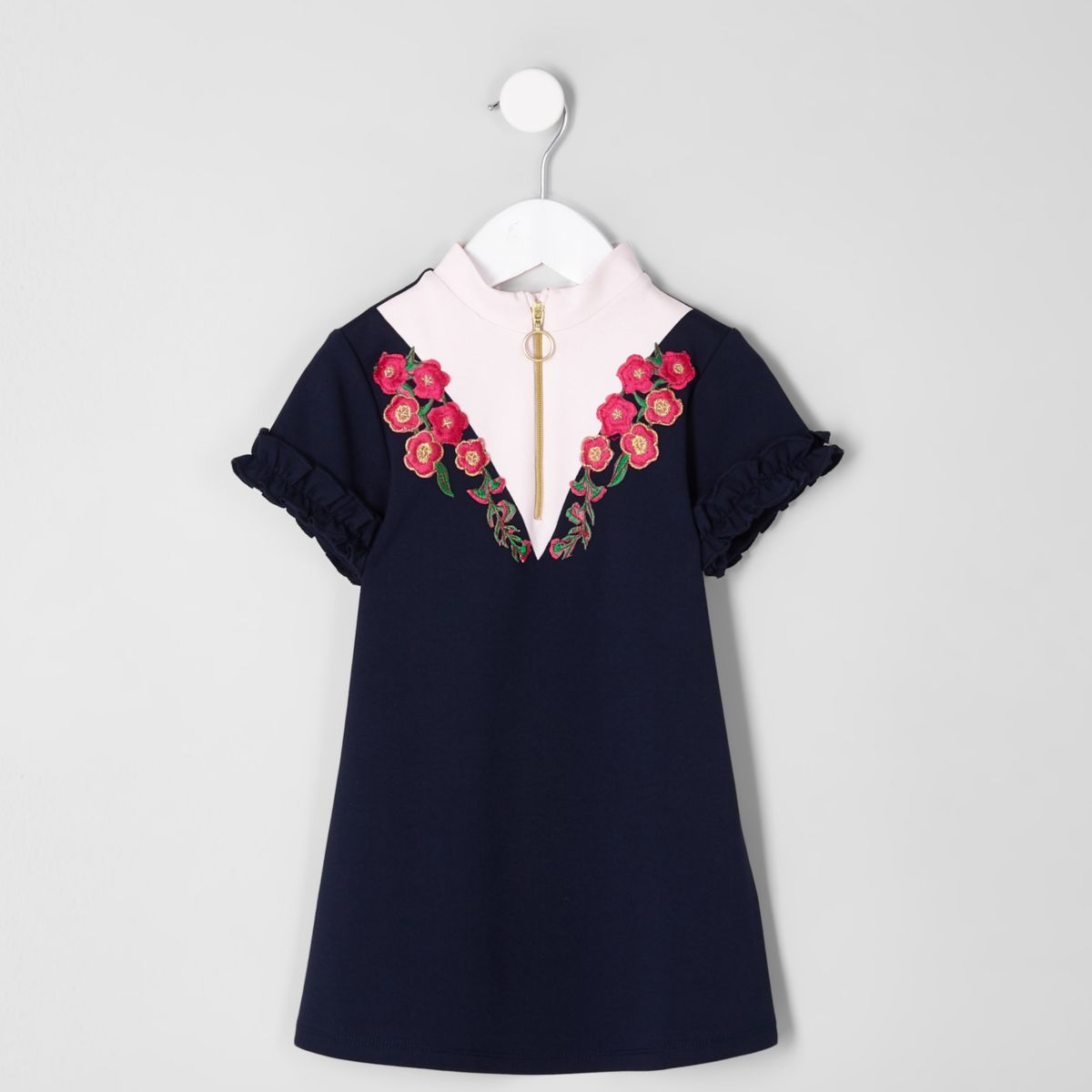 Mini girls navy zip front embroidered dress