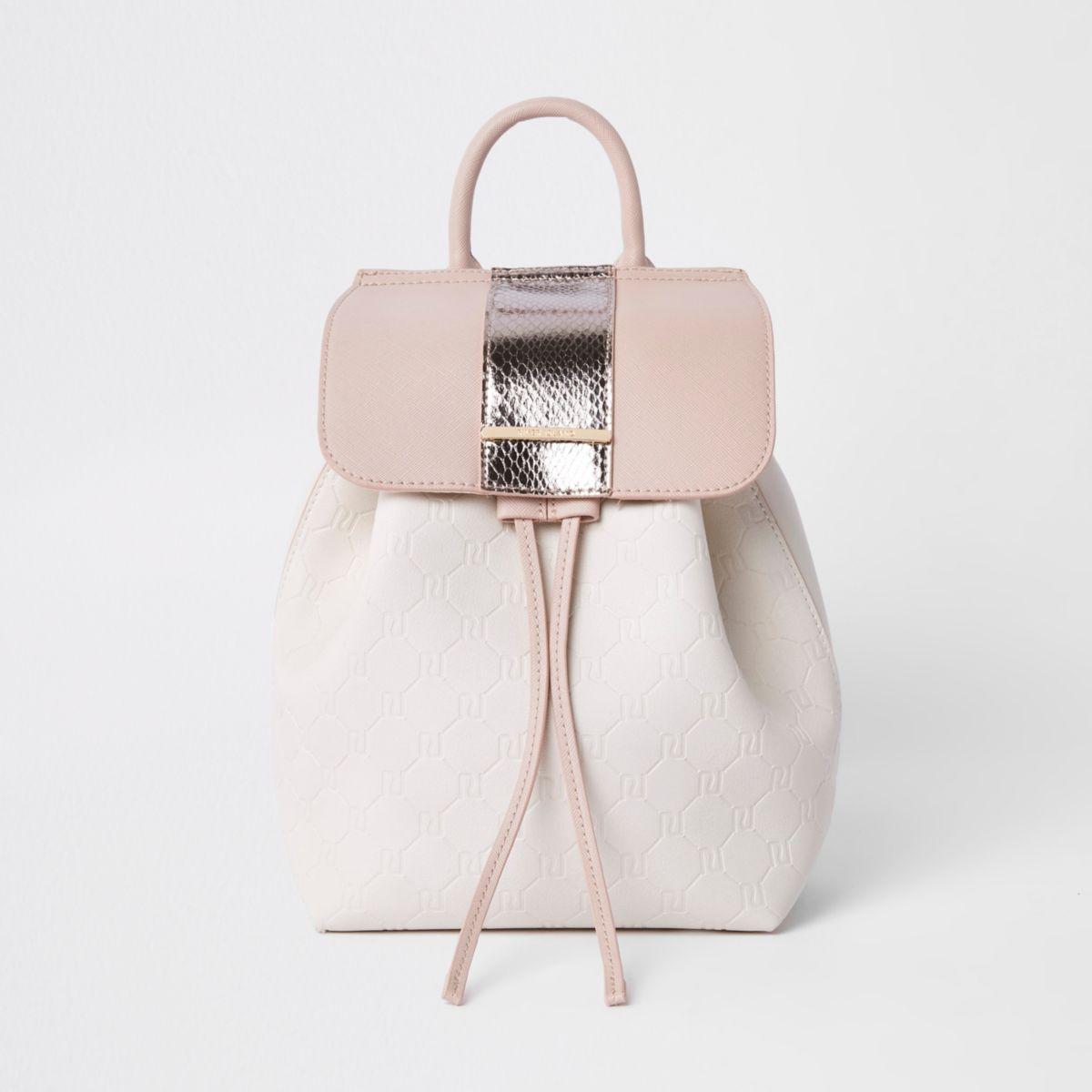Girls pink metallic drawstring backpack