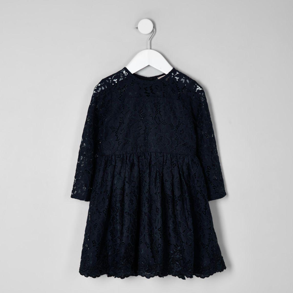 Mini girls navy lace skater dress