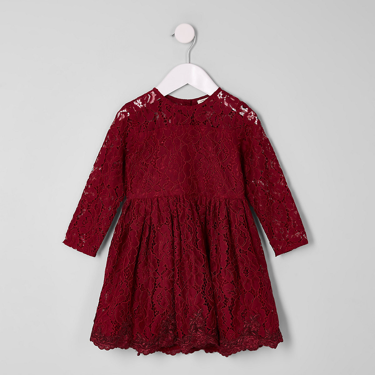 Mini girls burgundy lace skater dress