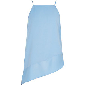 Girls blue asymmetric drop hem cami top