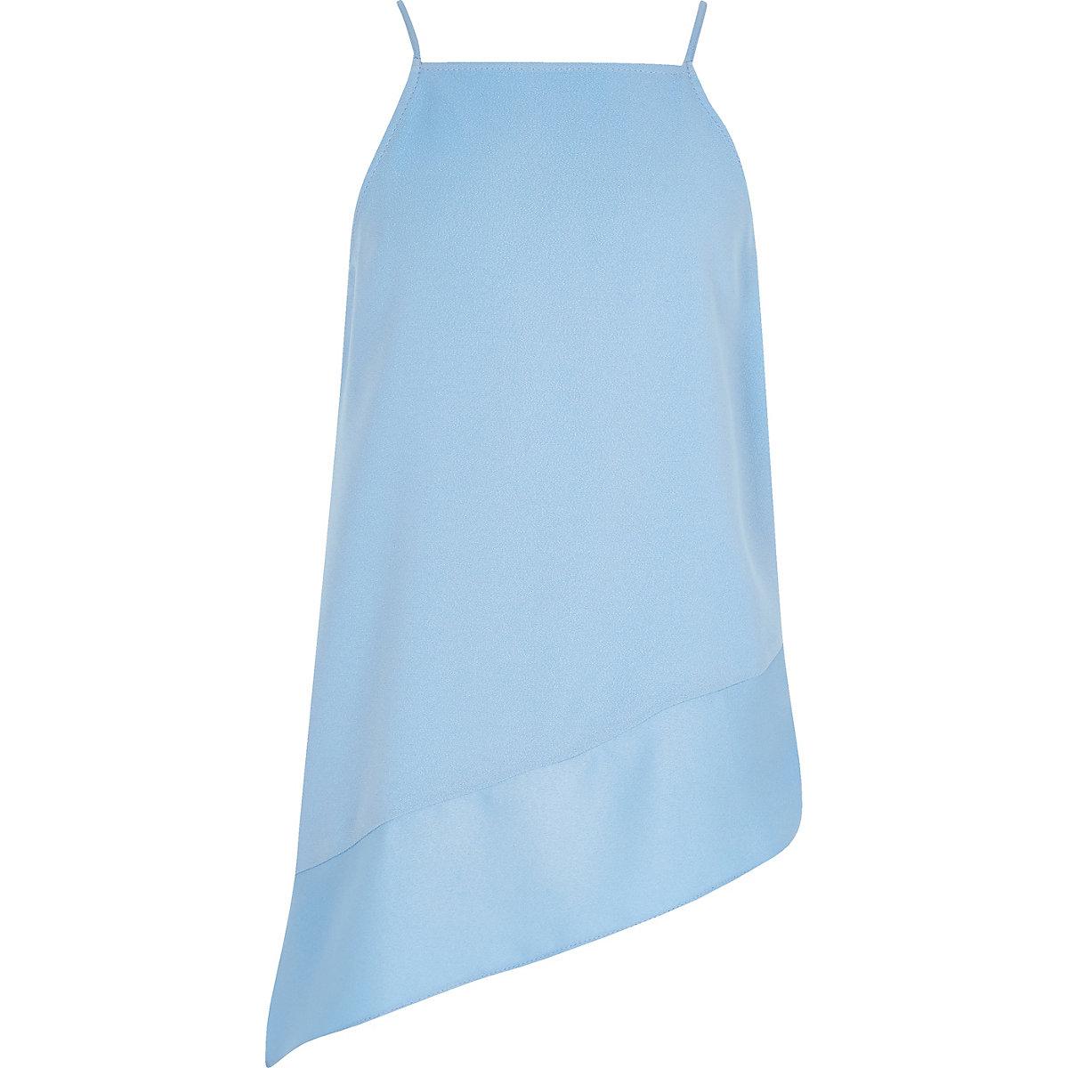 Girls blue asymmetric drop hem cami top