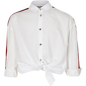 Girls white long sleeve side stripe shirt
