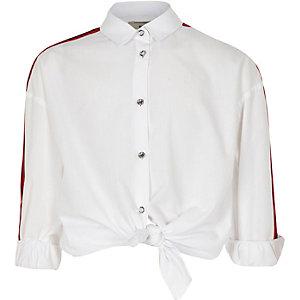 Wit overhemd met streep op de zijkant en lange mouwen voor meisjes