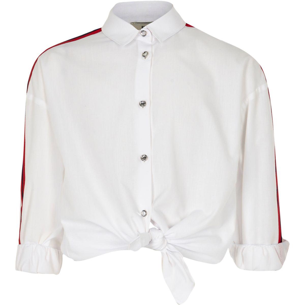 Chemise blanche à manches longues avec rayures latérales fille