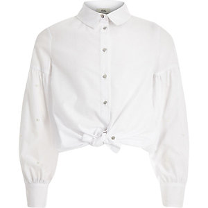 Girls white pearl embellished shirt
