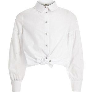 Wit verfraaid overhemd met pareltjes voor meisjes