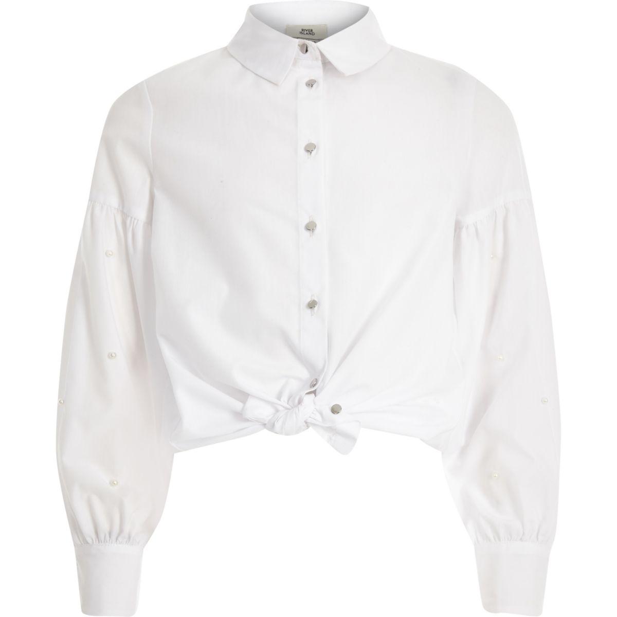Girls white pearl embellished shirt