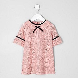 Mini - Roze kanten jurk voor meisjes