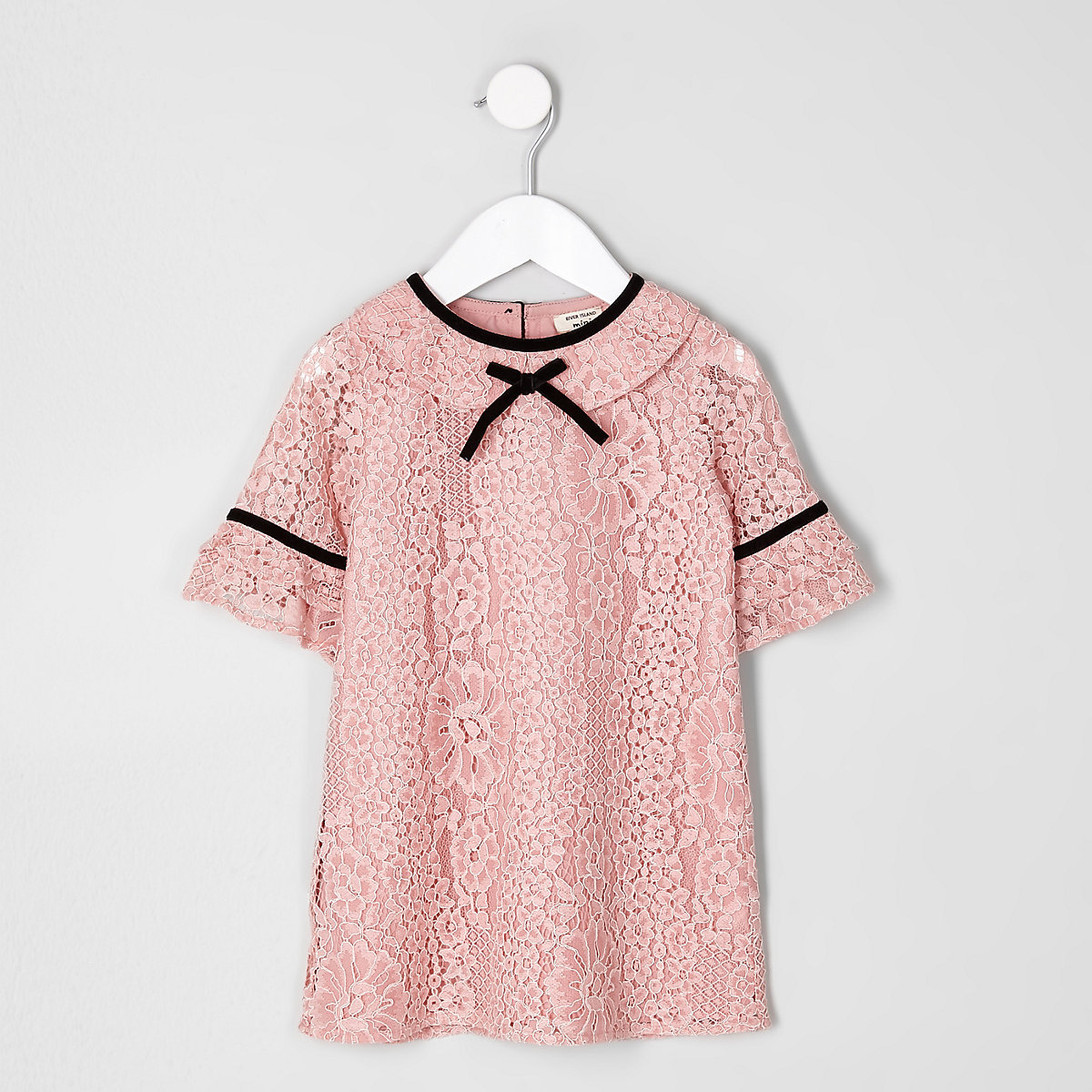 Mini girls pink lace shift dress